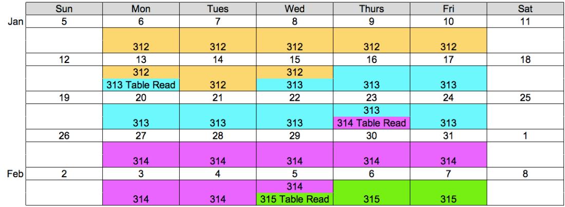 Filming Schedule 312-315