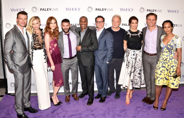 """The cast of """"Scandal"""" (L-R) Scott Foley, Portia de Rossi, Darby Stanchfield, Guillermo Diaz, Joe Morton, Joshua Malina, Jeff Perry, Bellamy Young, Tony Goldwyn and Kerry Washington attends The Paley Center panel discussion with the cast of ABC-TV's """"Scandal"""" at The Paley Center in New York, NY on May 14, 2015. (Photo by Stephen Smith) *** Please Use Credit from Credit Field ***"""
