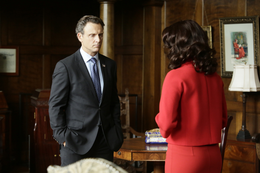 "SCANDAL - ""Heavy is the Head"" - Olivia and Fitz are back together again and enjoying every scandalous moment together while Cyrus, Mellie and Huck are all still dealing with the aftermath of helping Command. Meanwhile, when a visit from the Queen of Caldonia and her family turns into a tragedy, Olivia is hired to make sure the Royal family's private life stays private, on the Season 5 premiere of ""Scandal,"" THURSDAY SEPTEMBER 24 (9:00-10:00 p.m., ET) on the ABC Television Network. (ABC/Nicole Wilder) TONY GOLDWYN, BELLAMY YOUNG"