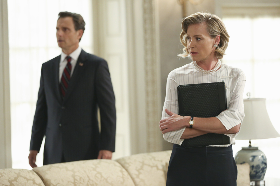 "SCANDAL - ""Paris is Burning"" - Olivia and Fitz face some very big consequences and Mellie brings in an old friend to make sure she gets her way. Meanwhile, Abby shows Olivia she is fully capable of handling working at the White House, on ""Scandal,"" THURSDAY OCTOBER 8 (9:00-10:00 p.m., ET) on the ABC Television Network. (ABC/John Fleenor) TONY GOLDWYN, PORTIA DE ROSSI"