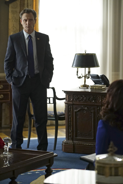 "SCANDAL - ""Yes"" -- The Pope and Associates team dives into a new case that takes Olivia out of D.C. and away from the President. Meanwhile, back at the White House, Fitz is determined to find who's responsible for causing the latest turn of events, and Abby receives unexpected guidance from a master of damage control as she struggles to catch a break, on ""Scandal,"" THURSDAY OCTOBER 1 (9:00--10:00 p.m., ET) on the ABC Television Network. (ABC/Eric McCandless) TONY GOLDWYN"