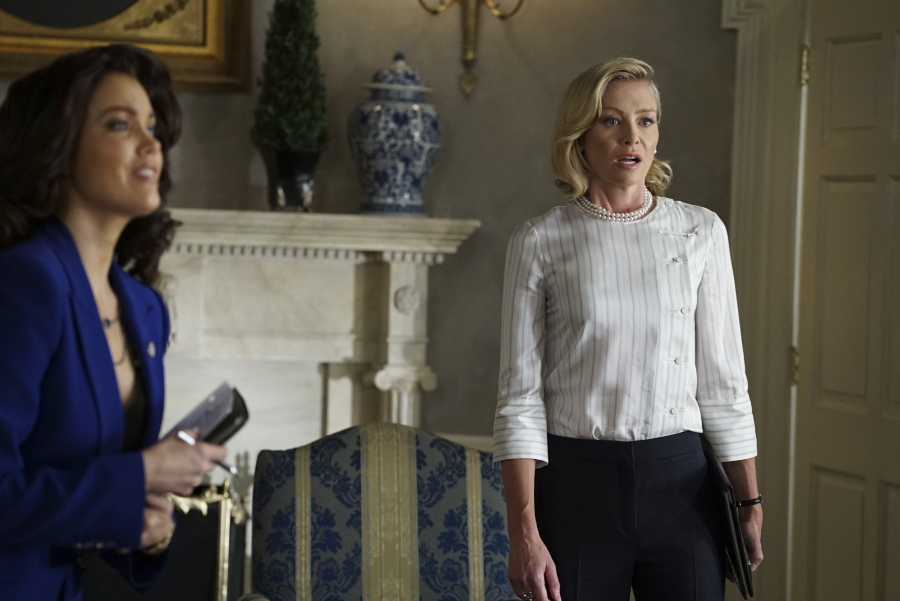 """SCANDAL - """"Yes"""" -- The Pope and Associates team dives into a new case that takes Olivia out of D.C. and away from the President. Meanwhile, back at the White House, Fitz is determined to find who's responsible for causing the latest turn of events, and Abby receives unexpected guidance from a master of damage control as she struggles to catch a break, on """"Scandal,"""" THURSDAY OCTOBER 1 (9:00--10:00 p.m., ET) on the ABC Television Network. (ABC/Eric McCandless) BELLAMY YOUNG, PORTIA DE ROSSI"""