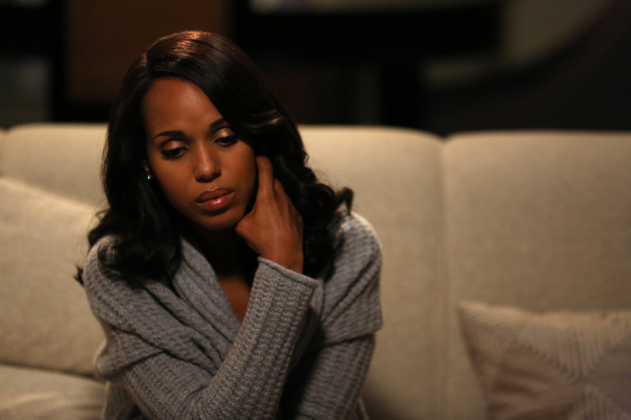 "SCANDAL - ""Dog-Whistle Politics"" - Eager to get answers, Jake unexpectedly crosses paths with someone he thought he'd never see again. Meanwhile, Huck and Quinn recruit a familiar face to help smooth over the media storm surrounding Olivia, and Fitz quickly finds out the true cost of mercy when he discovers not everyone fully supports his actions, on ""Scandal,"" THURSDAY, OCTOBER 15 (9:00-10:00 p.m., ET) on the ABC Television Network. (ABC/John Fleenor) KERRY WASHINGTON"